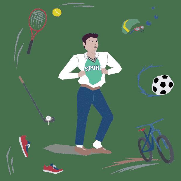 Illustration eines Mannes, der sich auf den Sport nach der Arbeit freut