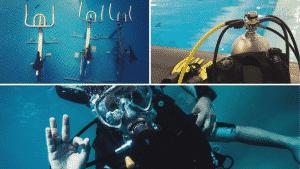 Tauchen, 3 Bilder, Aqua-Bikes, Tauchflasche und erste Stufe, Taucher der Okay-Zeichen macht