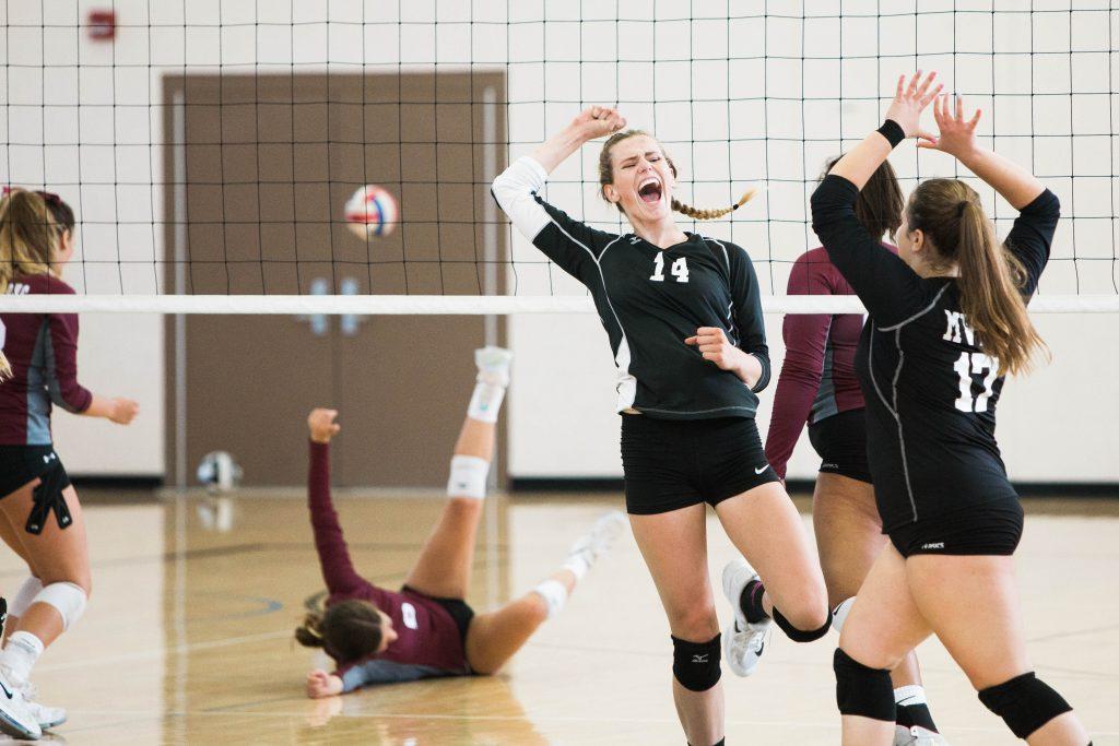 VolleyballspielerInnen klatschen sich gegenseitig ab, Sieg, Jubel, Sporthalle, Volleyballnetz